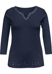 Karen Scott Cotton Split-Neck Grommet Top, Created for Macy's