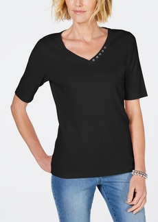 Karen Scott Cotton V-Neck T-Shirt, Created for Macy's
