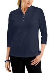 Karen Scott Cotton Zip-Neck Top, Created for Macy's