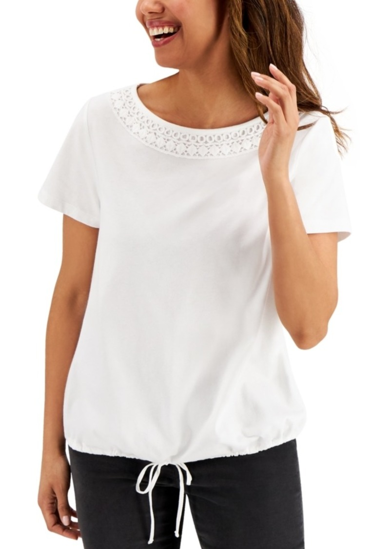 Karen Scott Crochet-Neck Bubble-Hem Top, Created for Macy's