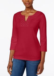 Karen Scott Crochet Split-Neck Top, Only at Macy's