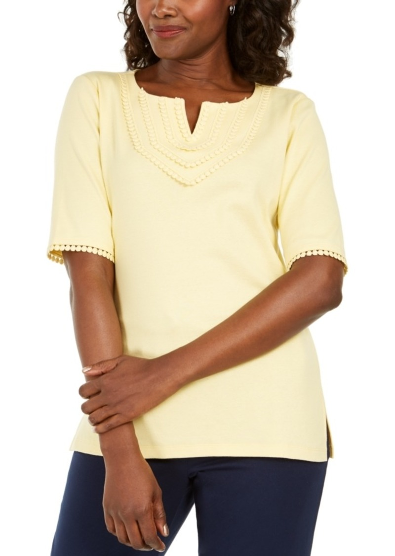 Karen Scott Crochet-Trim 3/4 Sleeve Split-Neck Top, Created for Macy's