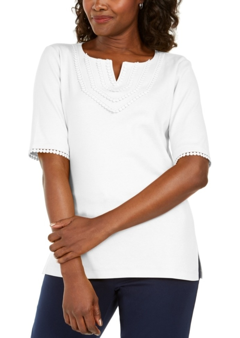 Karen Scott Crochet-Trim 3/4 Sleeve Split-Neck Top, Created for Macy's