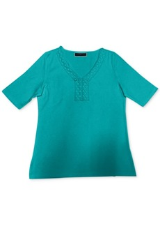 Karen Scott Crochet-Trim Top, Created for Macy's