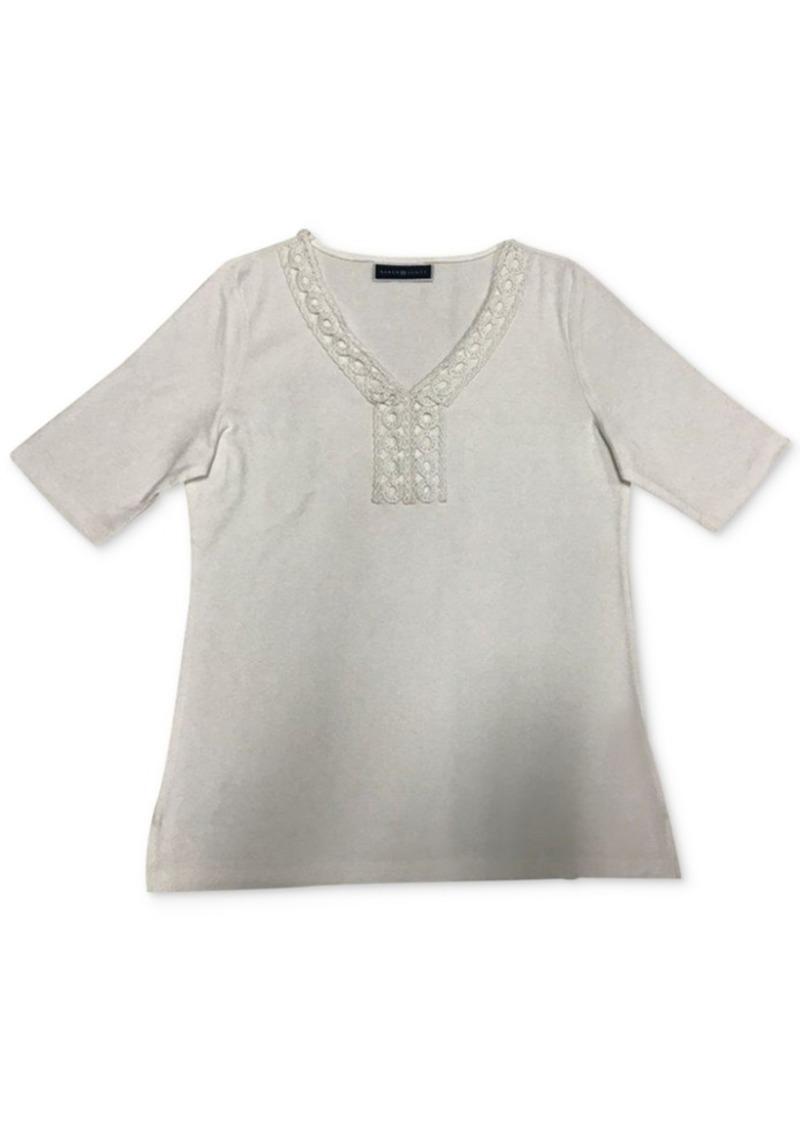 Karen Scott Crochet-Trim Top, Created for Macy's