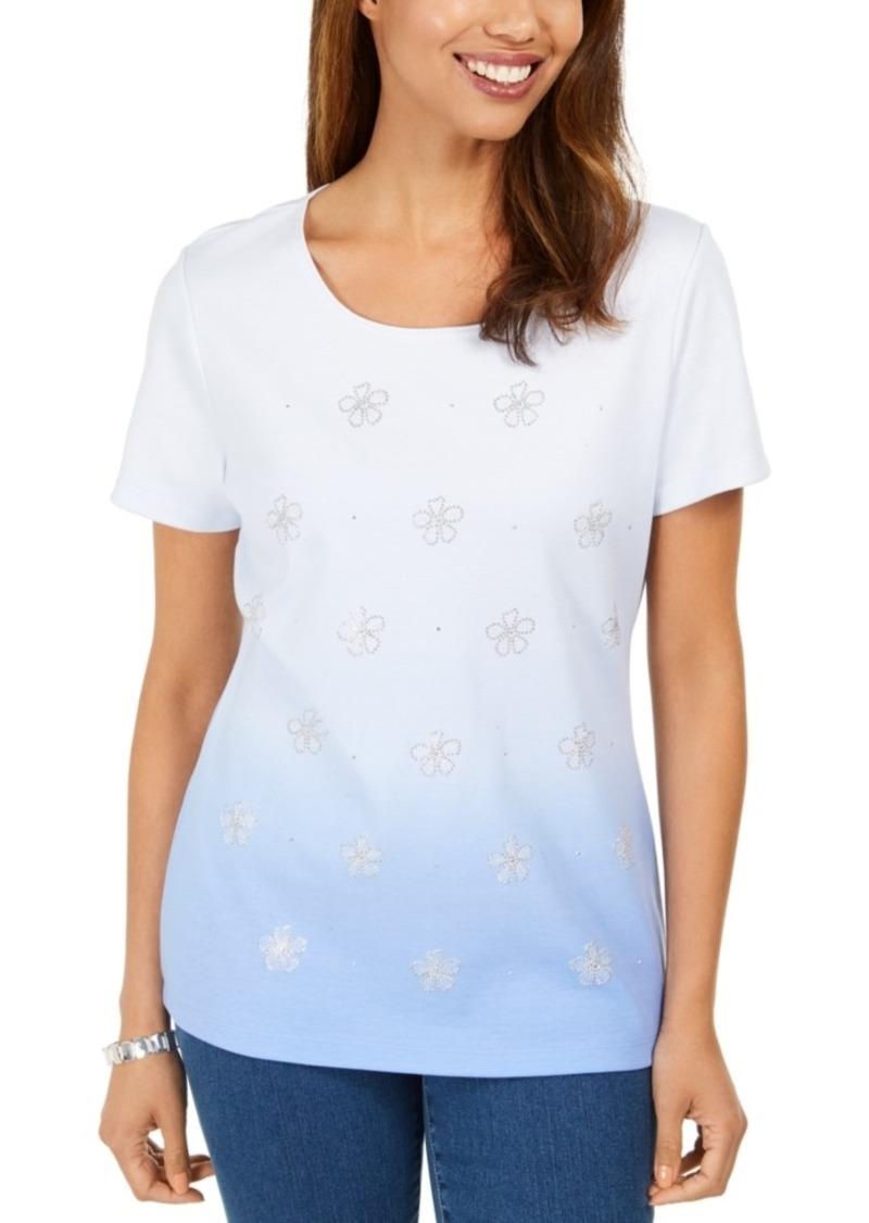 Karen Scott Daisy-Shine Scoop-Neck Top, Created for Macy's