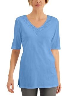 Karen Scott Elbow-Sleeve Lace-Trim Tunic, Created for Macy's