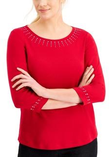 Karen Scott Embellished 3/4-Sleeve Top, Created for Macy's