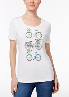 Karen Scott Embellished Bike Graphic Top, Only at Macy's