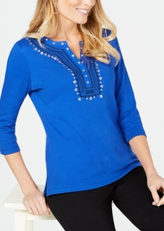 Karen Scott Embellished Embroidery-Detail Top, Created for Macy's