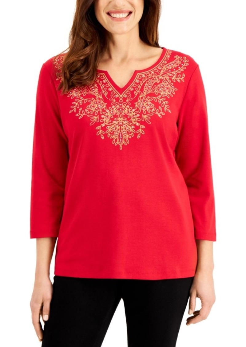 Karen Scott Embellished Split-Neckline Top, Created for Macy's