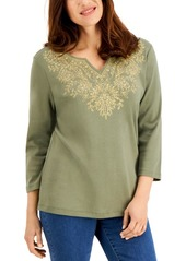 Karen Scott Embellished Split-Neckline Top, Created for Macy's