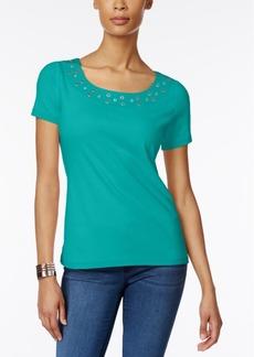 Karen Scott Embellished T-Shirt, Only at Macy's