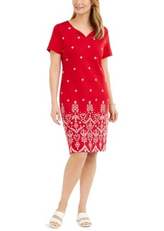 Karen Scott Petite Embroidered Pullover Dress, Created for Macy's