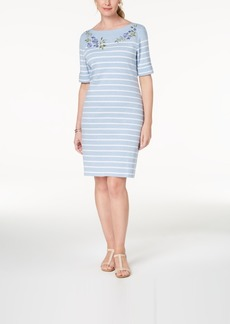 Karen Scott Embroidered Striped Dress, Created for Macy's