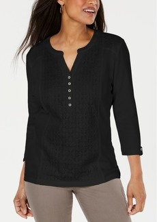Karen Scott Lace-Front Henley Top, Created for Macy's