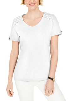 Karen Scott Eyelet-Shoulder V-Neck Top, Created for Macy's