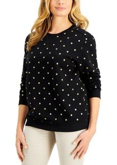 Karen Scott Fancy Dot Sweatshirt, Created for Macy's