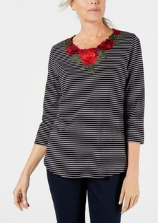Karen Scott Floral Embroidered Embellishment Striped Top, Created for Macy's