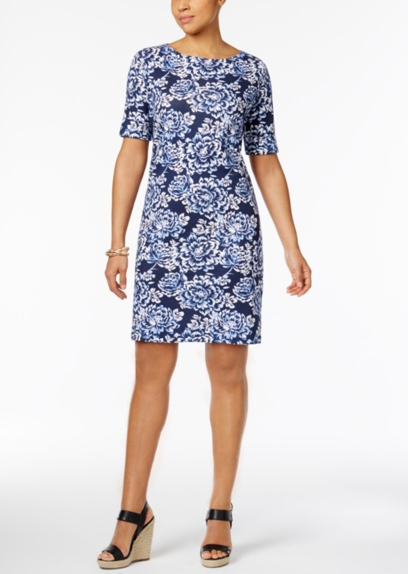 Karen Scott Floral-Print T-Shirt Dress, Only at Macy's