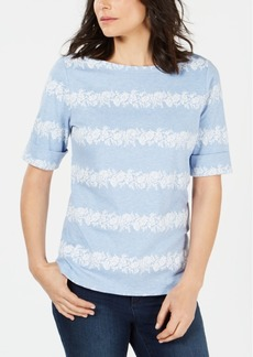Karen Scott Floral-Striped Boat-Neck Top, Created for Macy's