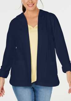 Karen Scott French Terry Open-Front Hoodie, Created for Macy's