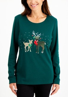 Karen Scott Graphic Print Christmas Top, Created for Macy's