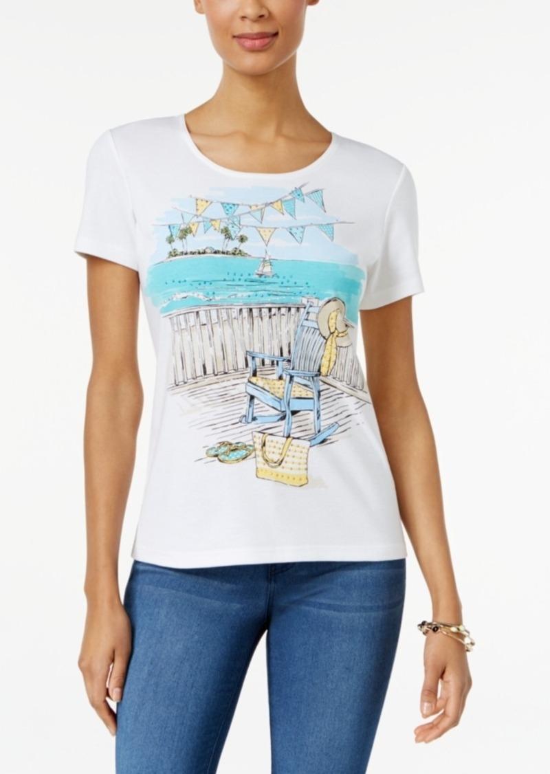 karen scott karen scott petite beach graphic t shirt only