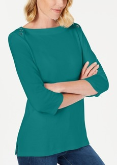 Karen Scott Grommet-Trim 3/4-Sleeve Top, Created for Macy's