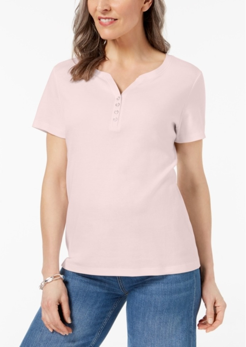 51125d099b187 SALE! Karen Scott Karen Scott Henley T-Shirt In Regular   Petite ...