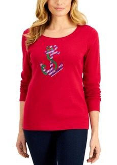 Karen Scott Holiday Sparkle Top, Created for Macy's