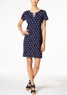 Karen Scott Lace-Up Anchor-Print Dress, Only at Macy's