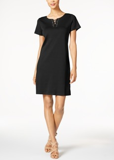 Karen Scott Lace-Up Sheath Dress, Only at Macy's