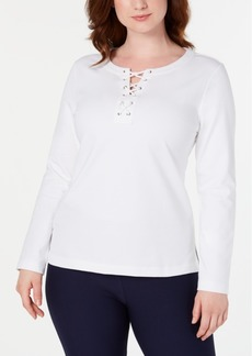 Karen Scott Sport Lace-Up Sweatshirt, Created for Macy's