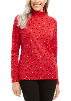 Karen Scott Long Sleeve Turtleneck Printed Top, Created for Macy's