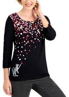 Karen Scott Petite Scoop-Neck 3/4-Sleeve Top, Created for Macy's