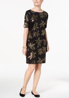 Karen Scott Metallic Elbow-Sleeve Dress, Created for Macy's