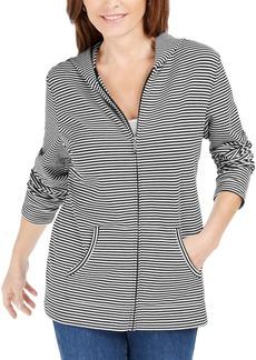 Karen Scott Mini-Striped Zip Hoodie, Created for Macy's
