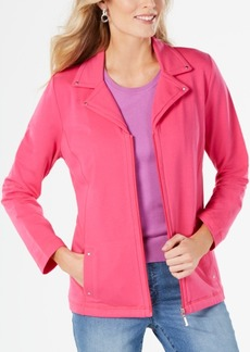 Karen Scott Notched-Lapel Zip-Front Jacket, Created for Macy's