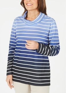 Karen Scott Ombre Striped Cowlneck Top, Created for Macy's