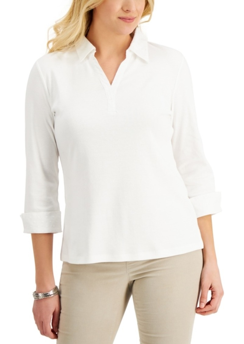 Karen Scott 3/4-Sleeve Johnny Collar Top, Created for Macy's