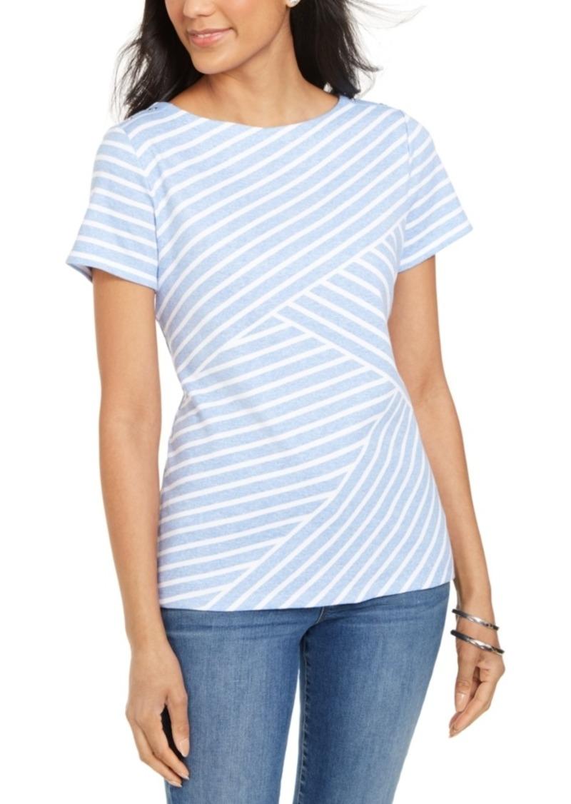 Karen Scott Asymmetrical Striped Top, Created for Macy's