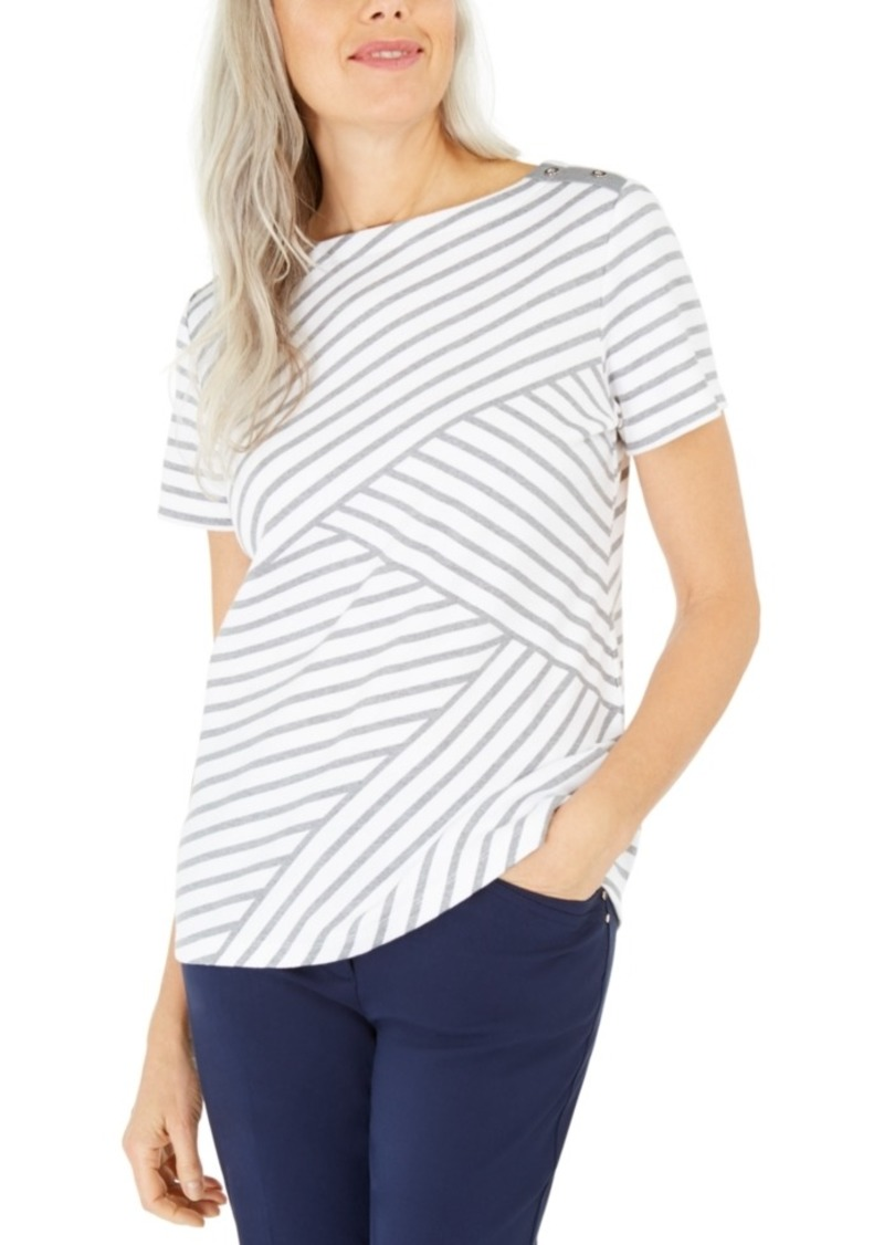 Karen Scott Asymmetrical Striped Top, Created for Macy's