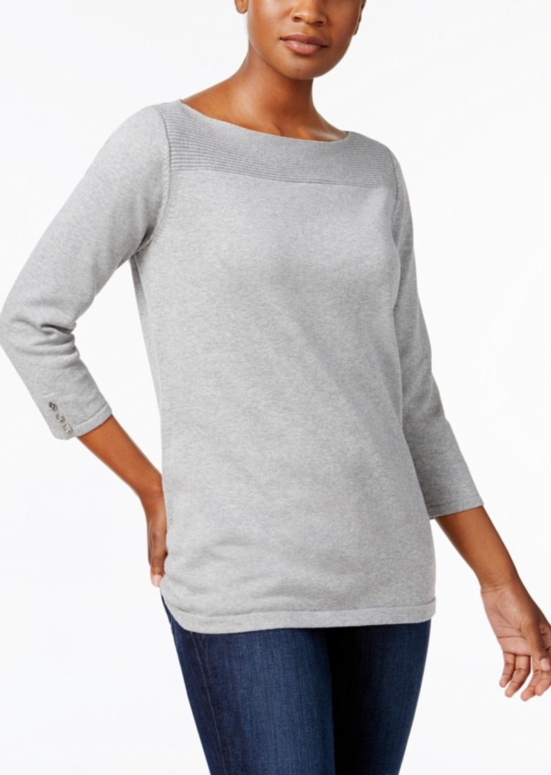 Karen Scott Karen Scott Petite Boat-Neck Cotton Sweater | Sweaters ...