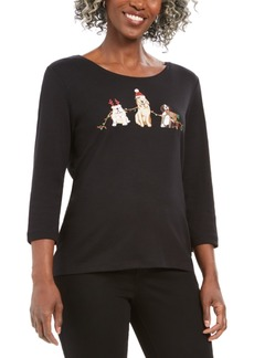 Karen Scott Petite Caroling Dogs Scoop-Neck Top, Created For Macy's