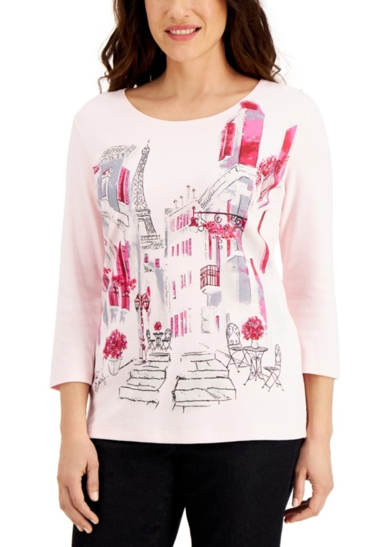 Karen Scott Cityscape Printed Top, Created for Macy's