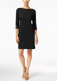 Karen Scott Petite Cotton Button-Trim T-Shirt Dress, Created for Macy's
