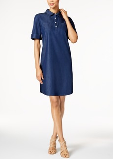 Karen Scott Petite Cotton Chambray Shirtdress