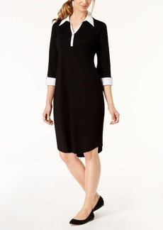 Karen Scott Petite Cotton Contrast-Collar Dress, Created for Macy's