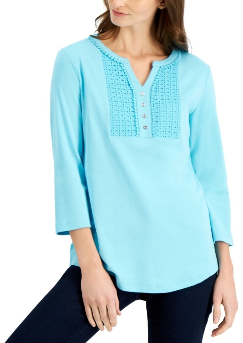 Karen Scott Petite Cotton Crochet-Trim Henley, Created for Macy's
